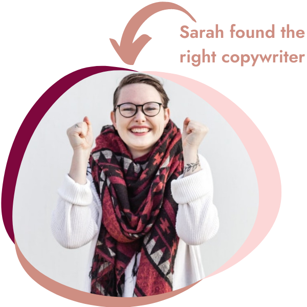 A woman who is a copywriting client is doing fist pumps because she found the right small business copywriter